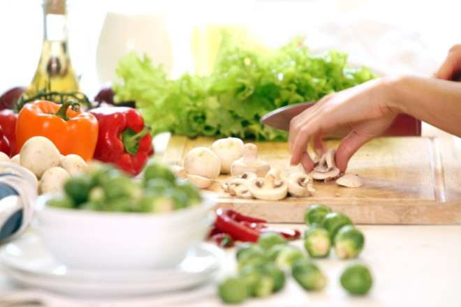 Healthly food on the table in the kitchen