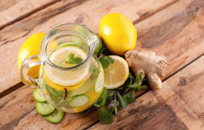 Water with lemon, mint, ginger and cucumber